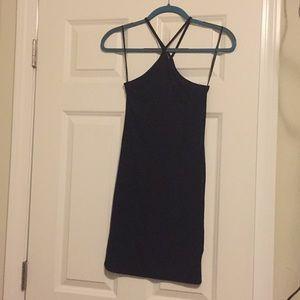 Plain black halter dress